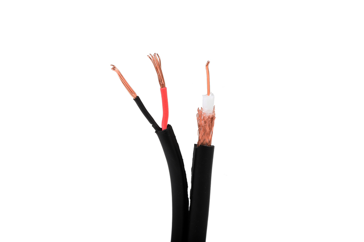 RG59 + 18/2 Coax Cable, Siamese, 1000', Black