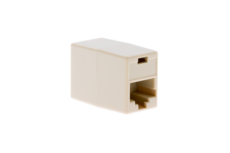 RJ45 Cat5e Inline Coupler for Connecting Ethernet Cables, White