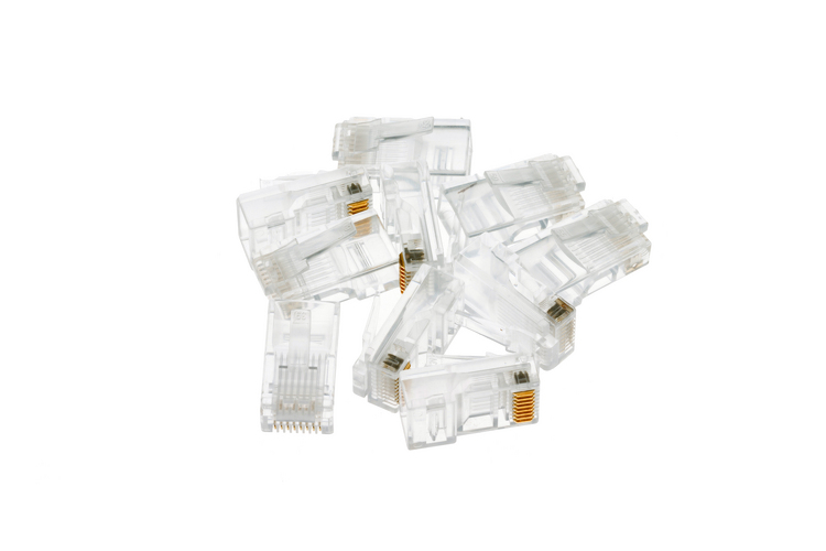 RJ45 Cat5e Modular Plugs/Connectors for Solid Wire - Qty 10