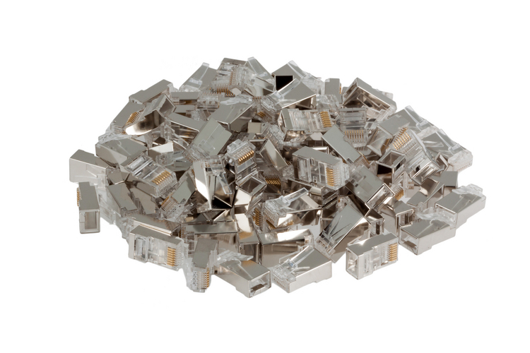 RJ45 Cat6 Modular Plugs/Connectors for STP Solid Wire - Qty 100