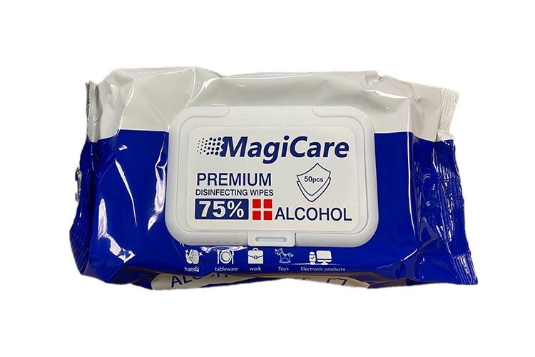 MagiCare 75% Alcohol Cleaning Wipes, 50 Pack Resealable Pouch