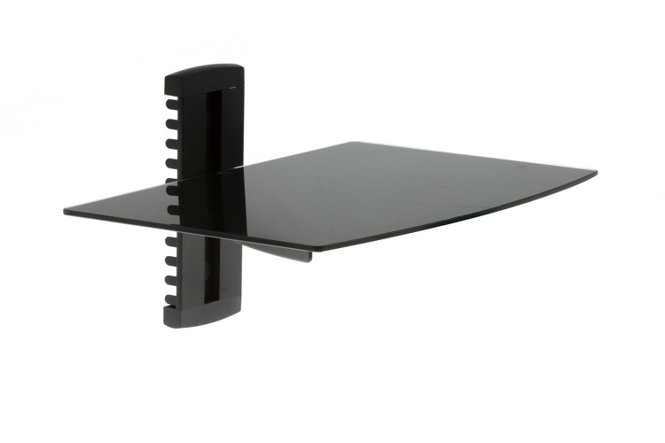 adjustable wall mount glass shelf 17lbs capacity. Black Bedroom Furniture Sets. Home Design Ideas