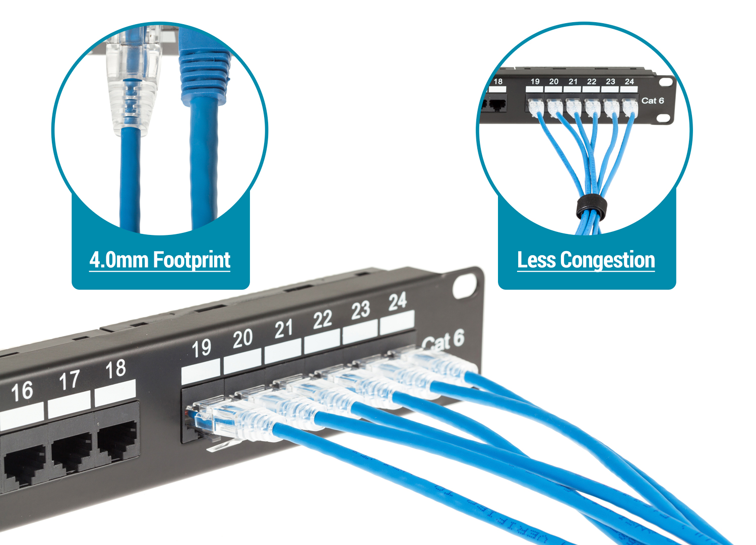 CAT6A Slim Ethernet Patch Cables | Low-Profile Boot, 28AWG, UTP